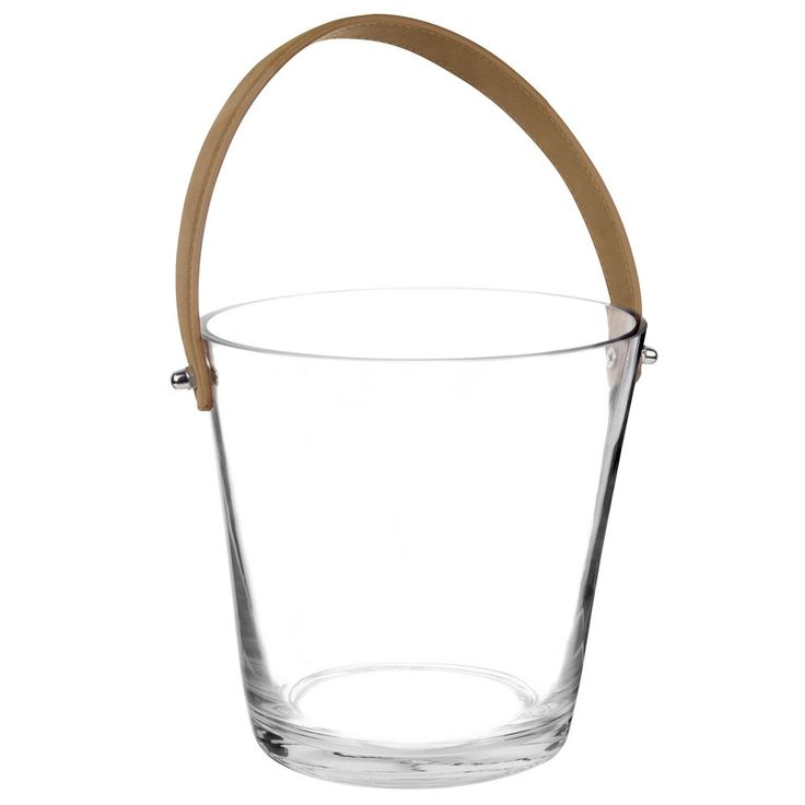 Glass and Leather Champagne Bucket
