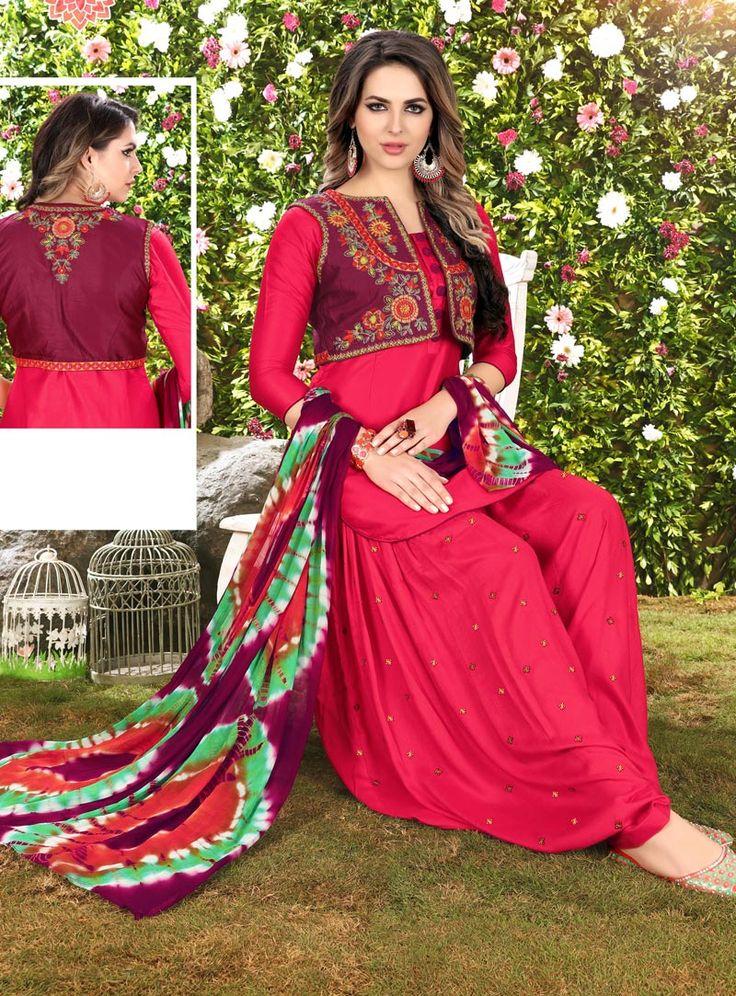 Dark Pink Cotton Punjabi Suit 117139