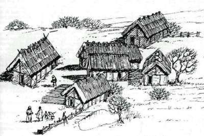 """Wie der Name Mülgau als ein Wassername gedeutet wird, so wurden auch seine Bewohner nach dem keltischen mel und apa, welches wie das erstere Wasser bedeutet, """"Menapii"""", die Bewohner des Wasserlandes genannt. Süchteln mit seinem Helderberg und der Quelle war der religiöse Mittelpunkt ihres Landes.   Ähnlich sahen die vereinzelten Gehöfte der Menapier im Mülgau aus."""