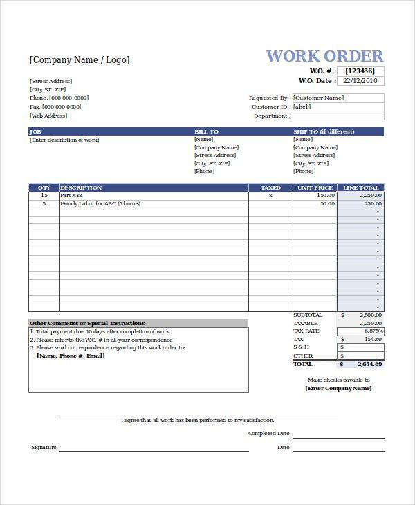 image result for work order format in excel