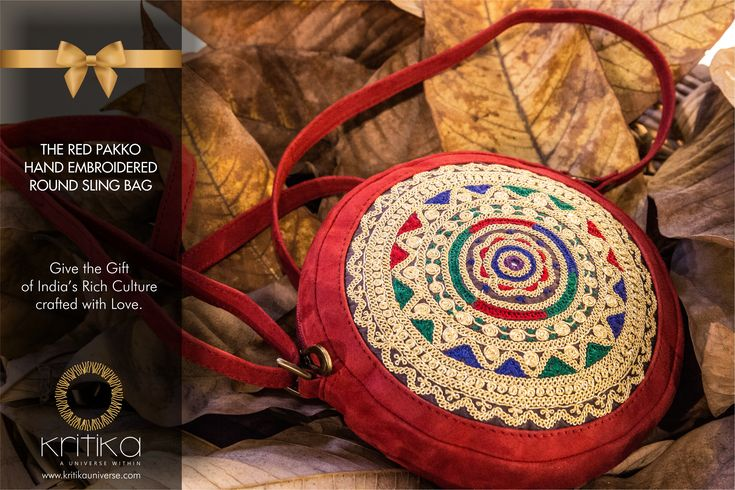 THE RED PAKKO HAND EMBROIDERED ROUND SLING BAG  Give the Gift of India's Rich Culture crafted with Love.  Connect on: +91 9820530692/09820530664 or mail on sonal@kritikauniverse.com #kritikauniverse #pakko #hand #embroidered #slingbag
