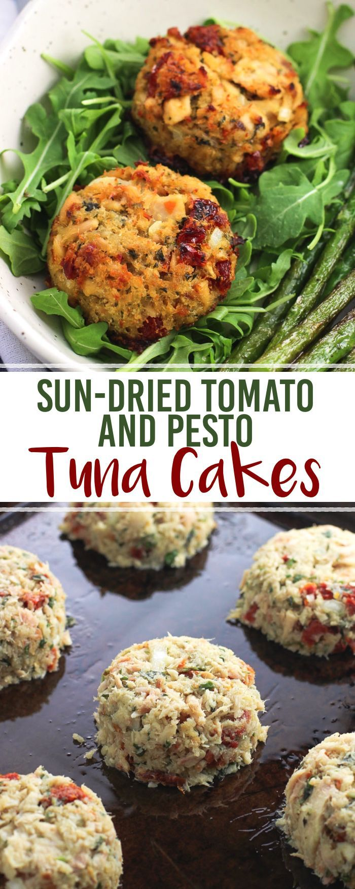 Sun-dried tomato and pesto tuna cakes are a flavorful, healthy meal that comes together in just about 30 minutes - a great weeknight dinner recipe! These tuna cakes are baked and served over a bed of arugula and alongside easy pan-roasted asparagus. #Wild