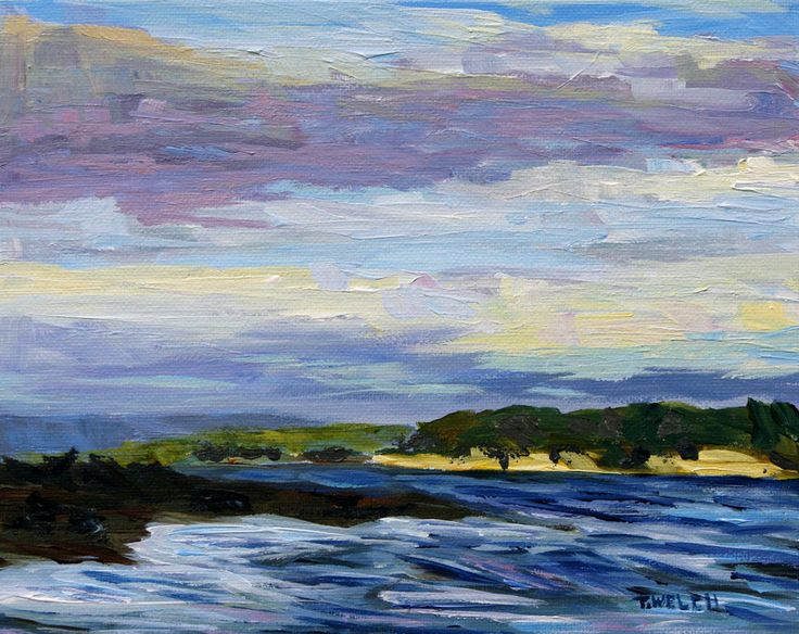 December Sea Vancouver Island study 8 x 10 inch acrylic on canvas panel by Terrill Welch
