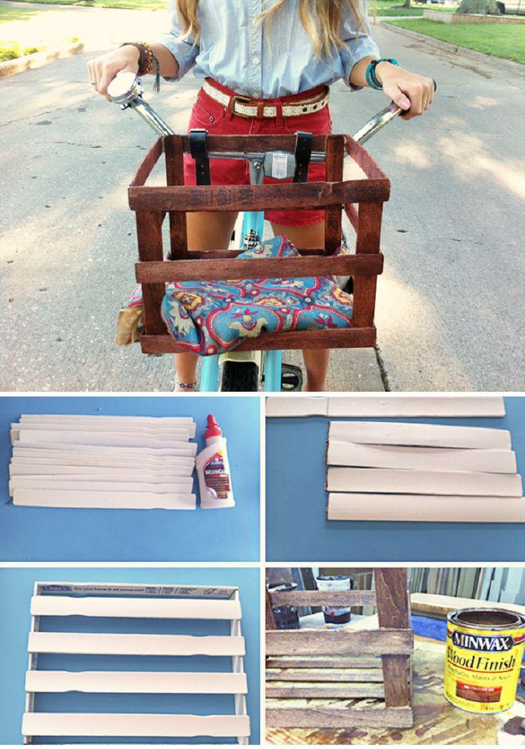 Paint Stirrer Bike Basket - 15 Chic DIY Ideas to Update Your Bike | GleamItUp