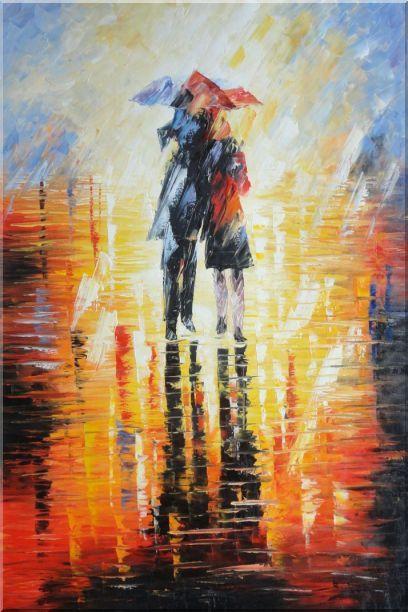 Couple Walking Under Umbrella in Rain Oil Painting 24 x 20 ...