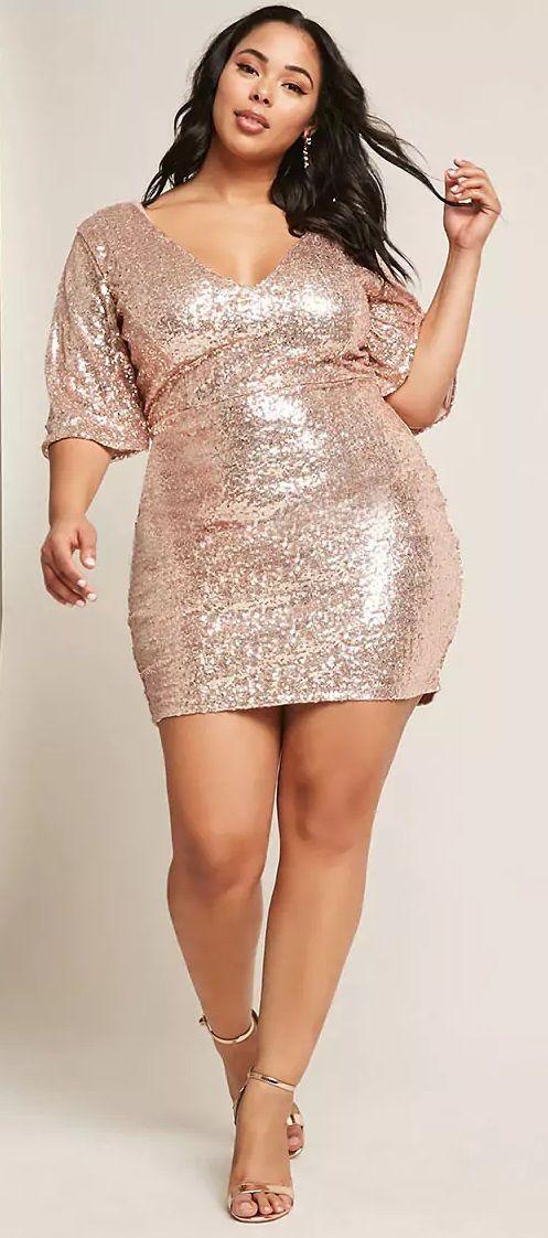 Plus Size Sequin Mini Dress - Plus Size Party Dress – Plus ...
