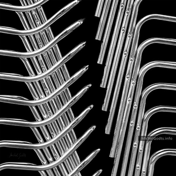 Stack Chairs Skeleton :: Black and white abstract realism photography print for sale