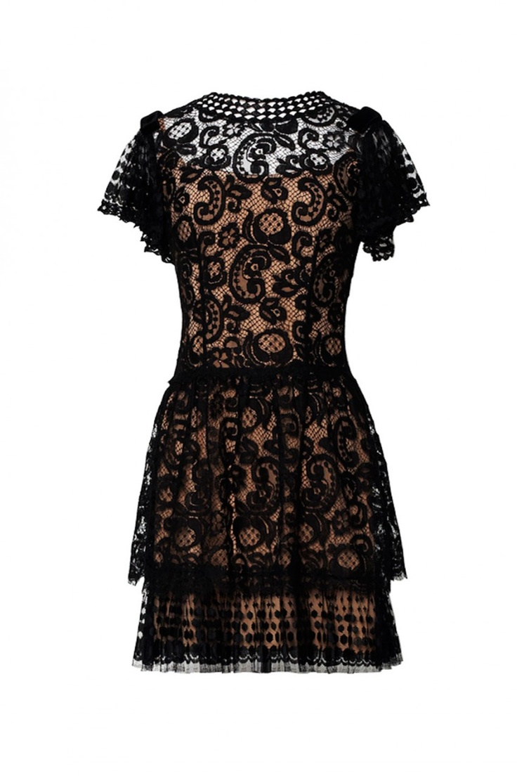 Beaded paisley spot lace ruffled dress - Collette Dinnigan