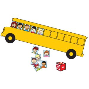 """Schoolbus / School Friends """"Roll the Dice"""" Counting Activity (from TheMailbox.com)"""