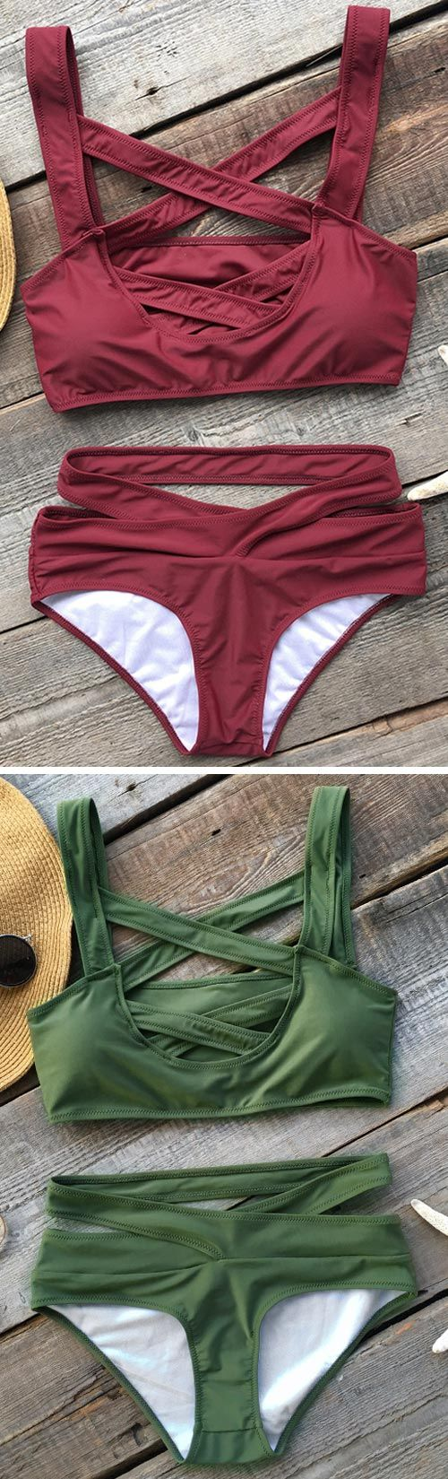 Dare to try something nontraditional? You better not miss this bikini. Solid color with front cross design make it special. Check this bikini at cupshe.com