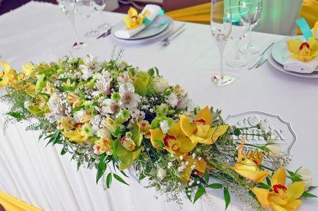 Цветочная композиция в жёлтом цвете в великолепном сочитании  цимбидиум, с горной орхидеей и кустовой светло-зеленой хризантемой