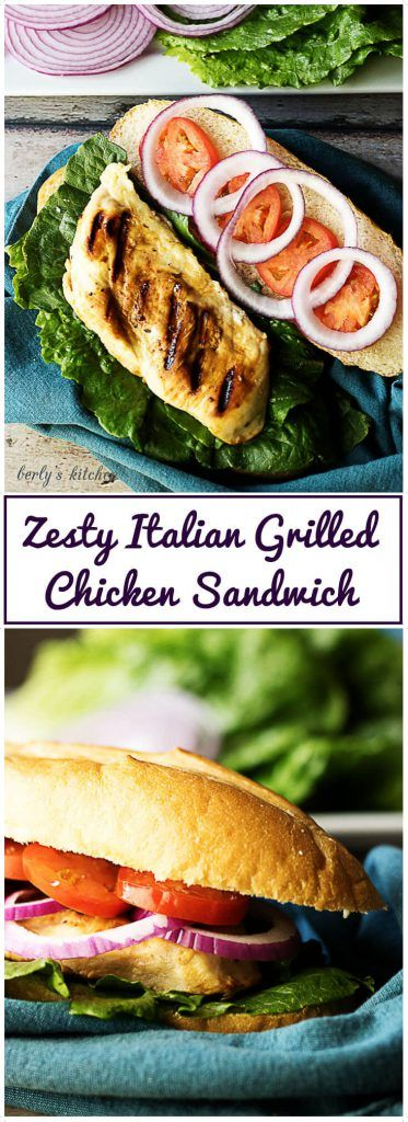 Nothing beats a zesty Italian grilled chicken sandwich with marinated, tender grilled chicken and crunchy vegetables on a soft hoagie roll.  via @berlyskitchen