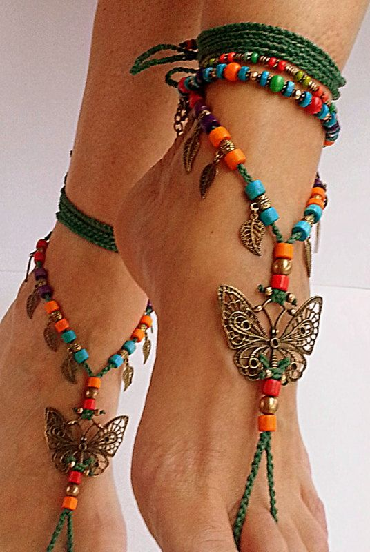 Barefoot sandals with butterfly Boho barefoot beach by FiArt