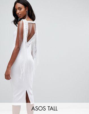 6839fb1099c3f49 Облегающее платье миди с бахромой ASOS DESIGN Tall | Платья ...