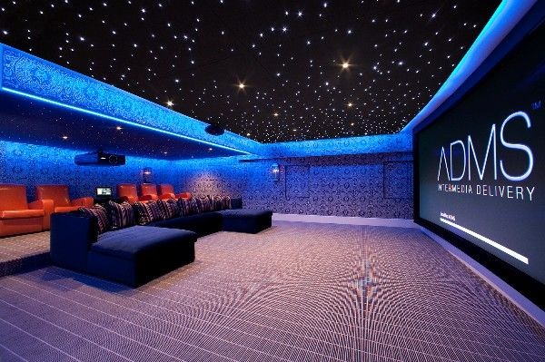 home cinema room with movie theater seats and a starry ceiling!!!