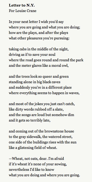 Letter to NY.   A poem by Elizabeth Bishop.  David Rakoff's favorite poem.  Rakoff memorized it and would recite it to himself when he felt claustrophobic inside the MRI machine.