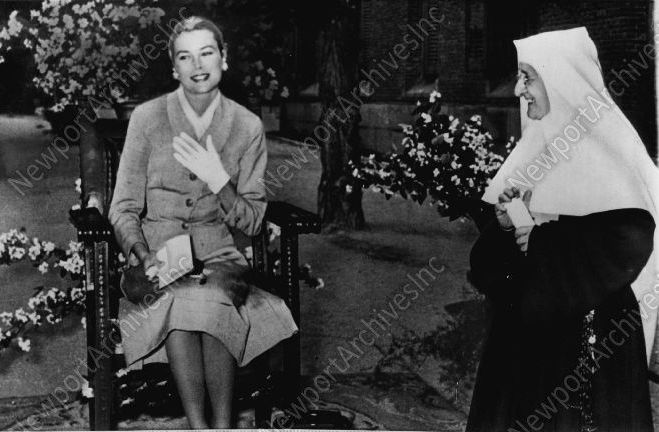 Princess Grace visits Sister Teresa Maria at the Assumption School in Madrid. The Nun was one of Grace's teachers while she was a student at the Assumption School in Philadelphia. source:ebay