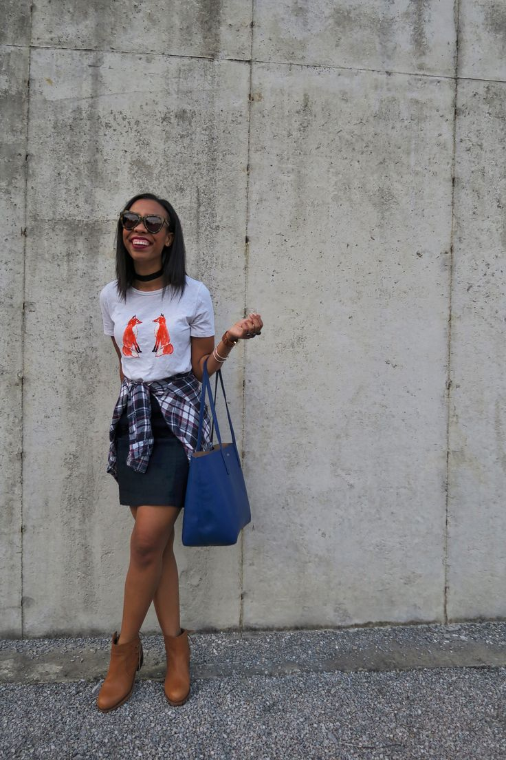Fashion blogger, What Nicole Wore, shares six of her favorite fall outfits and how to recreate them this fall with affordable fall fashion staples. // how to wear a graphic tee, denim skirt outfit for fall, cat footwear ankle boots, cute fall outfit for girls