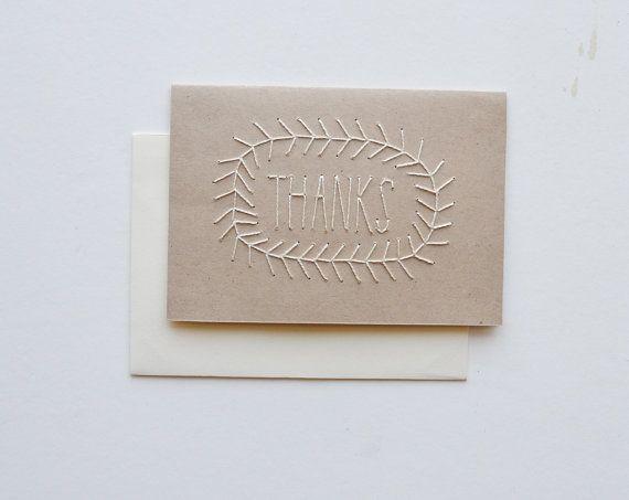 Vielen Dank - Hand genähte Karte mit Umschlag