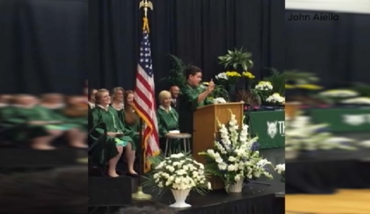 Suburban 8th-Grader Impersonates Presidential Candidates in Entertaining Graduation Speech