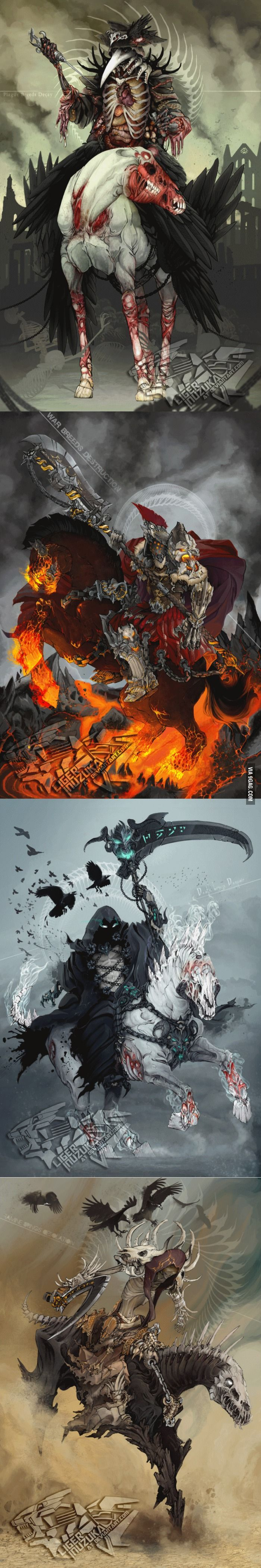 Pestilence, War, Death, and Famine: the Four Horsemen of the Apocalypse. Also, is that some Dragon script from Skyrim on Death's scythe...?