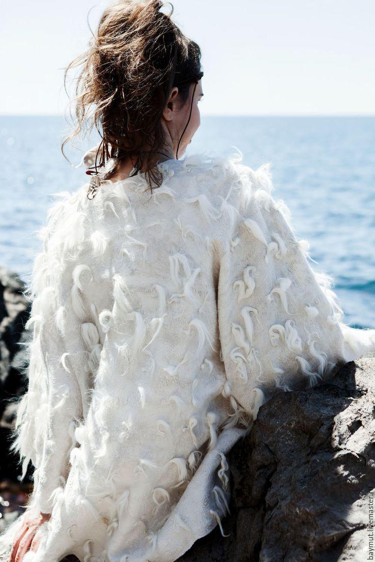 Купить Валяная накидка - кардиган - белый, бохо свадьба, богемный шик, хиппи, платье для невесты