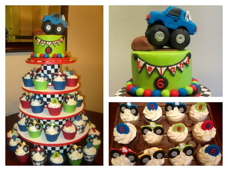 "Monster Truck Cake & cupcake tower - 6"" cake with monster truck topper/ cupcake tower I made for my son's 6th Birthday"