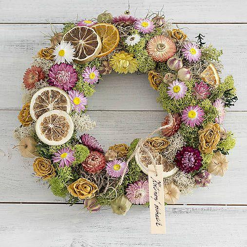 moss wreath, flowers, lemon, orange