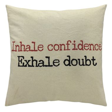 "Exhale Doubt"""" Typography Throw Pillow"