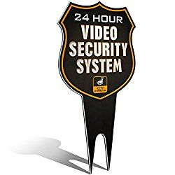 Warning 24 Hour Video Surveillance Security Camera System in Operation Metal Yard Sign | Stylish Laser Cut SHIELD Design | Heavy Duty 1/8″ Thick Di-Bond Aluminum (Non-Reflective)