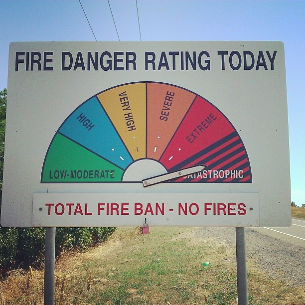 You will see these signs in bushfire-prone areas of Australia this one is Catastrophic fire danger  in Goulburn NSW January 2013.