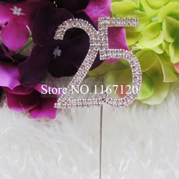 Silver Rhinestone Crystal Diamante Number 25 Cake Topper Birthday Anniversary 5cm (DG03-1) #Affiliate