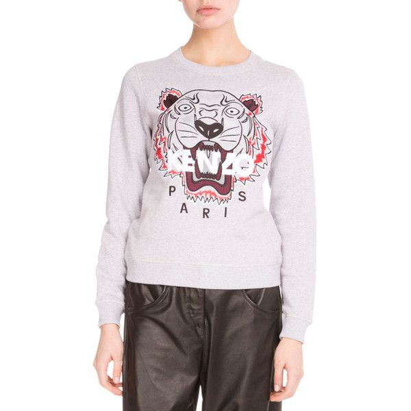 Kenzo Light Brushed Cotton Tiger Sweatshirt (€260) ❤ liked on Polyvore  featuring tops