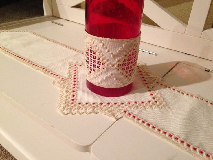 Hardanger table runner and candle holder
