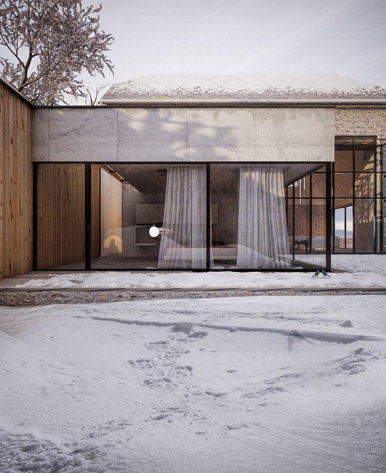 #homify #Haus #Stein #Glas #Schnee #Fabrice Commerçon