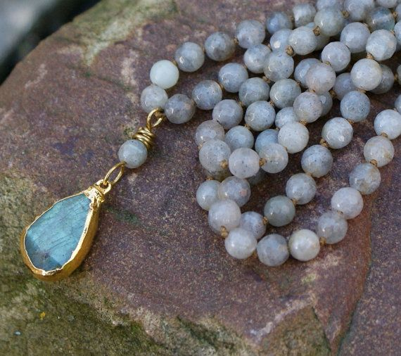Labradorite long boho necklace - bohemian layering chic gemstone semi precious jewelry, everday jewellery