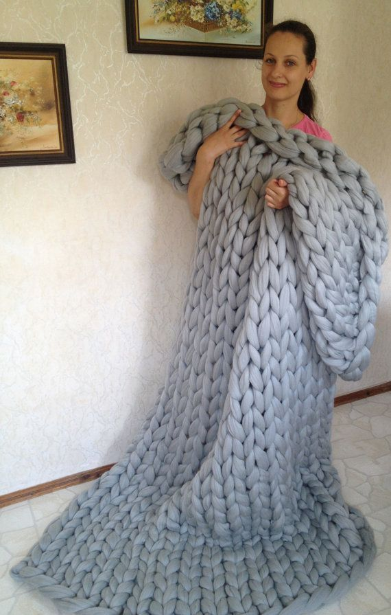 Chunky knit blanket Chunky knit throw Merino wool by WoollalaWool
