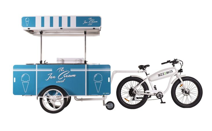 Our Ice Cream Cart towed behind BizzeBike, our hard-working electric bicycle.    #IceCreamCart #IceCreamBike