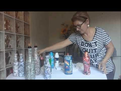 Decoupagem em Garrafa com revista rasgada /efeito de pedra (Passo a passo) - YouTube