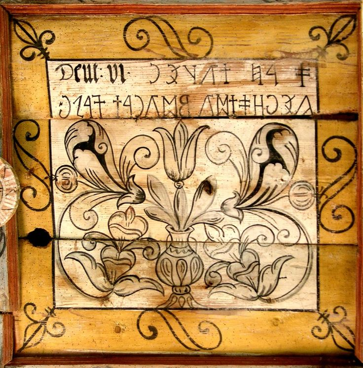 """Painted wood paneled ceiling and ancient Hungarian runic script. The text reads: """"There is one God. Georgius Musnai."""" Énlaka (Inlăceni) Hungarian village in Szeklerland, Transylvania. Based on the Trianon dictate Ro-Mania attached. 2 million Hungarians live in Transylvania, without basic human rights. Thank you Europe…"""