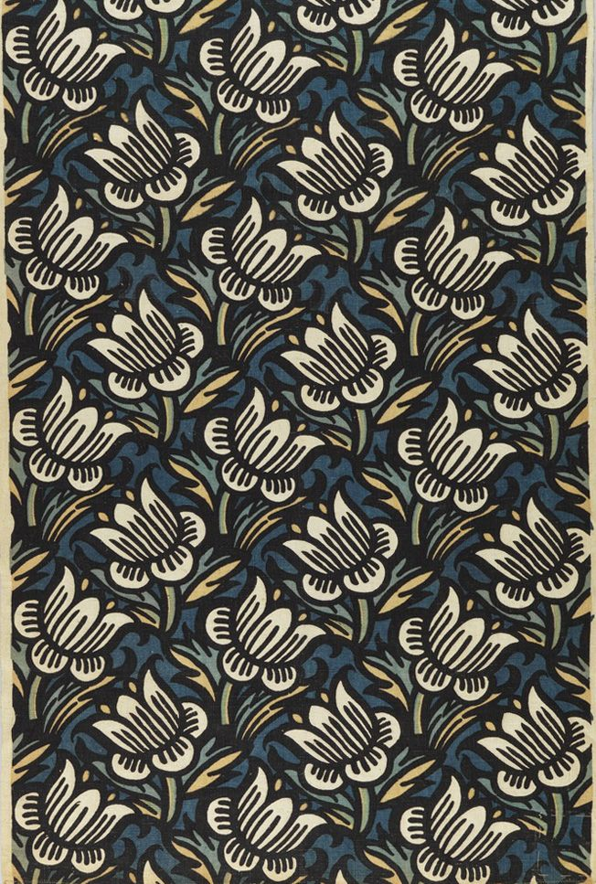 Franz von Zülow, textile design Daffodil, 1910-12. Printed linen. Made by Wiener…