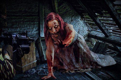 Zombie, Mujer, Soldado, Ático