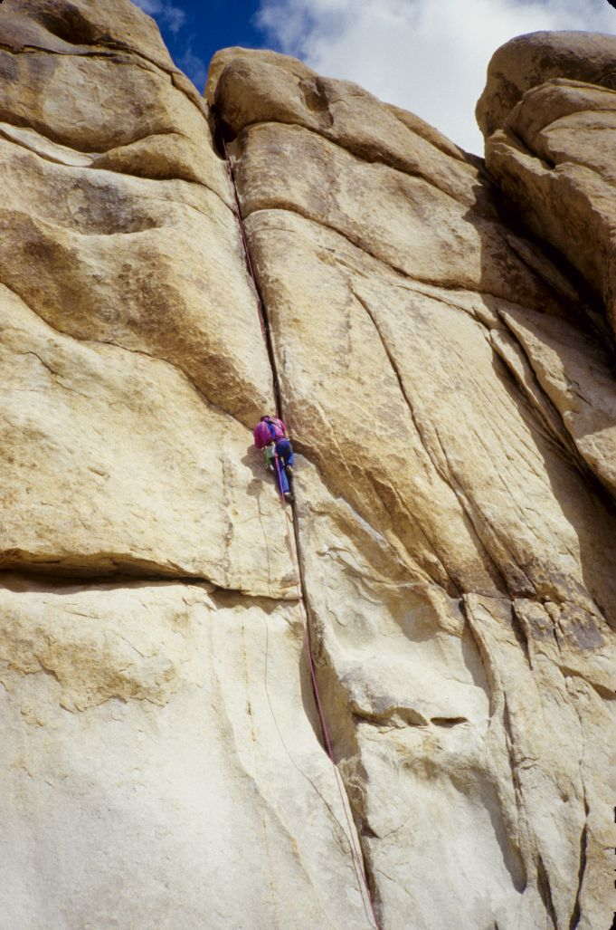 climber on Double Cross - Joshua Tree National Park (opening scene in FACES)