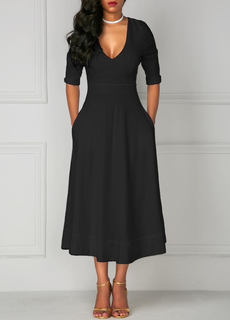 Pocket Design Black V Neck Half Sleeve Dress   Rosewe.com - USD $31.44