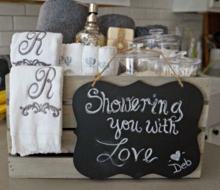 Bathroom grey washed wood crate bridal shower gift