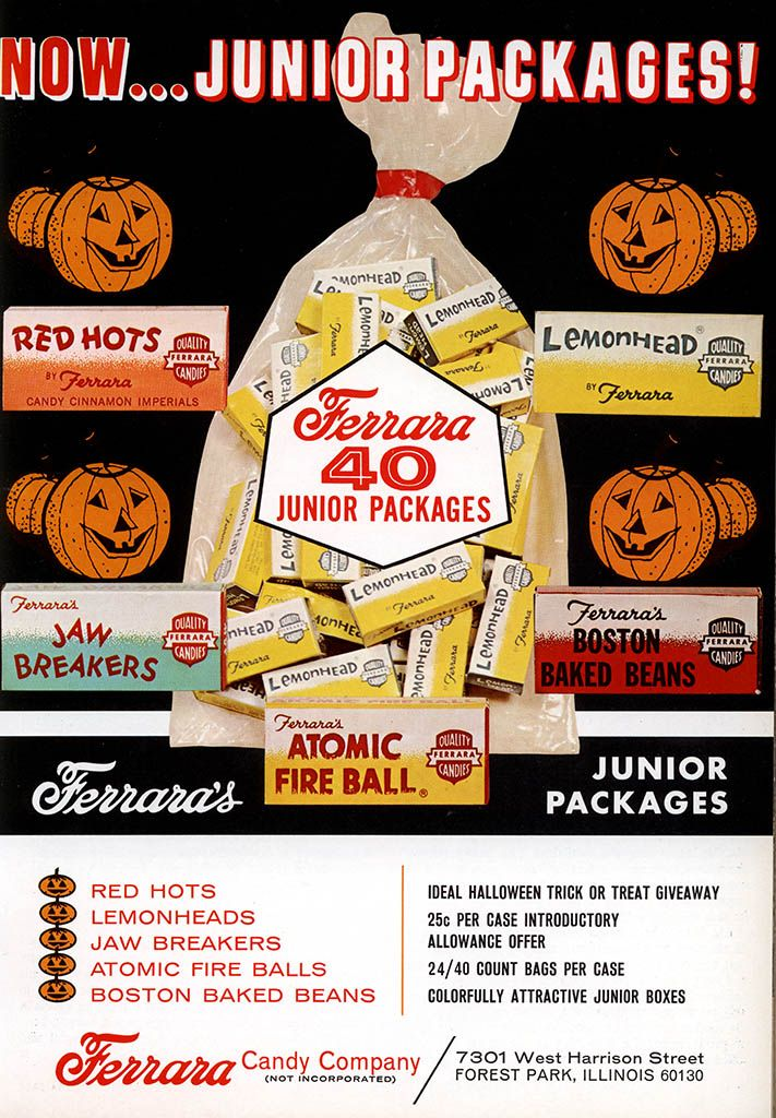 Ferrara Pan – Junior Packages – Halloween candy industry trade ad – July 1969