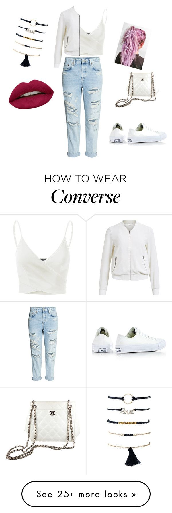"""Untitled #358"" by abantescu23 on Polyvore featuring H&M, Doublju, Converse, Object Collectors Item, Chanel and Huda Beauty"