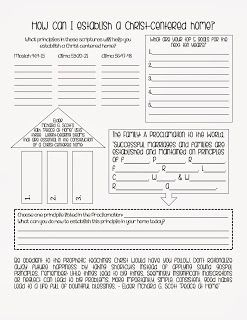 How can I establish a Christ-Centered home Lesson Handout.  I created this for my Young Women's lesson this Sunday. :) Christ centered home.