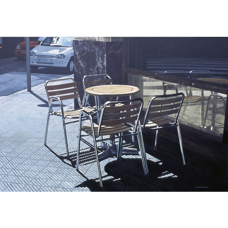 'Table and Chairs - Bilbao' oil painting by David Finnigan