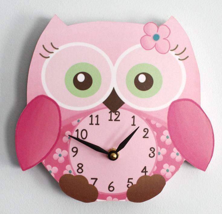 Sweet Little Owl Wooden WALL CLOCK for Girls Bedroom Baby Nursery. $45.00, via Etsy.